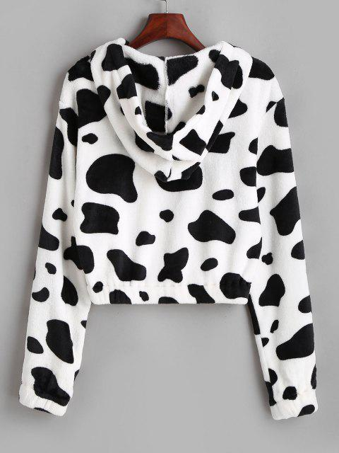 latest ZAFUL Hooded Fuzzy Cow Print Faux Fur Coat - WHITE S Mobile