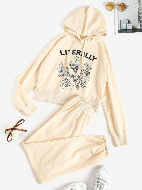 sale Floral LITERALLY Graphic Sweat Two Piece Set - LIGHT COFFEE M Mobile