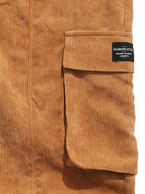 ZAFUL Pantalones de Pana con Aplicación y de Letras - café 2XL Mobile