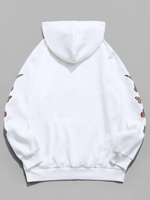 outfits ZAFUL Butterfly Print Kangaroo Pocket Fleece Hoodie - WHITE S Mobile