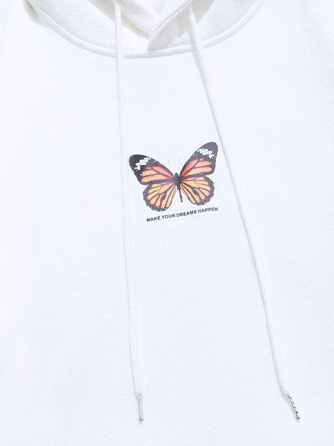 ZAFUL Sweat à Capuche Papillon Imprimé avec Poche Kangourou enLaine - Blanc 2XL Mobile