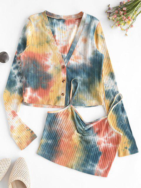 lady ZAFUL Tie Dye Ribbed Cardigan with Ruched Camisole - BEE YELLOW S Mobile