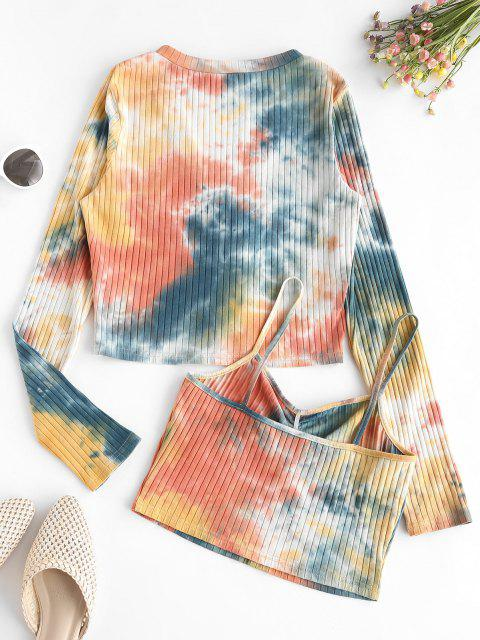 ZAFUL Tie Dye Ribbed Cardigan with Ruched Camisole - نحلة صفراء S Mobile