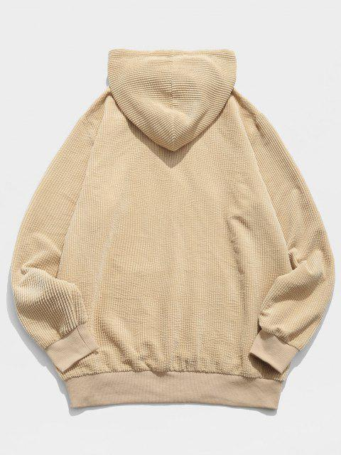unique ZAFUL Letter Embroidered Kangaroo Pocket Corduroy Hoodie - BURLYWOOD S Mobile