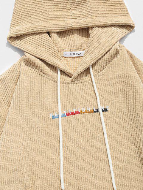 buy ZAFUL Letter Embroidered Kangaroo Pocket Corduroy Hoodie - BURLYWOOD XL Mobile