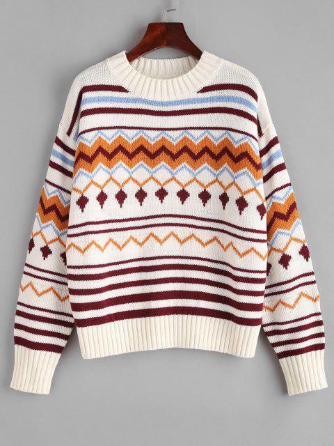Camisola suéter gola V com padrão de Ziguezague - Multi Um Tamanho Mobile