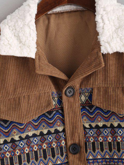 trendy Pockets Tribal Print Fur Collar Corduroy Jacket - COFFEE S Mobile