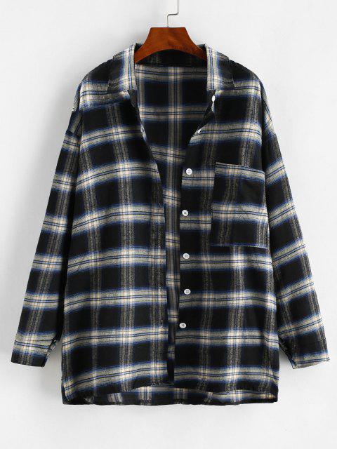 women Front Pocket Plaid Oversize Shacket - BLACK M Mobile
