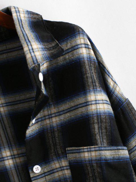Bolsillo Delantero de La Tela Escocesa de Gran Tamaño - Negro L Mobile