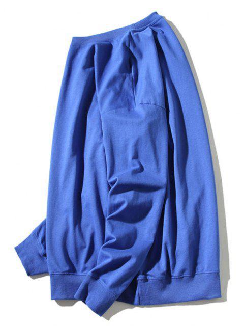 best Cartoon Cat Print Rib-knit Trim Sweatshirt - BLUE L Mobile