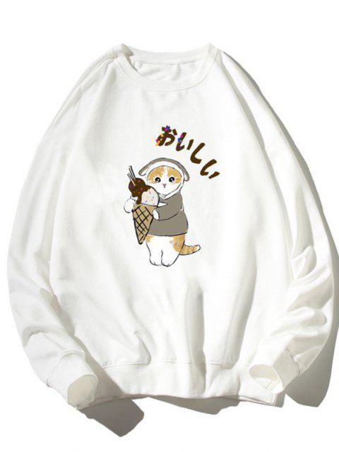 chic Cartoon Cat Print Rib-knit Trim Sweatshirt - WHITE L Mobile
