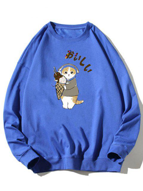 Cartoon Katzen Druck Rippen Strick Trimm Sweatshirt - Blau XL Mobile