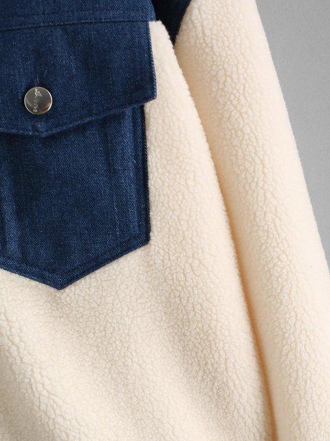 lady Faux Shearling Denim Panel Cargo Jacket - WHITE L Mobile
