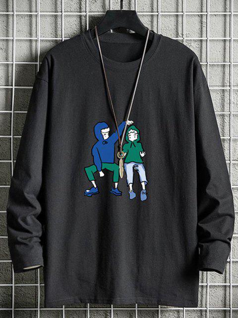 Cute Couples Graphic Drop Shoulder Crew Neck T Shirt - أسود XS Mobile
