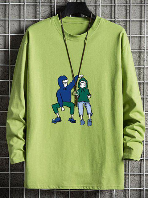 outfit Cute Couples Graphic Drop Shoulder Crew Neck T Shirt - AVOCADO GREEN XS Mobile