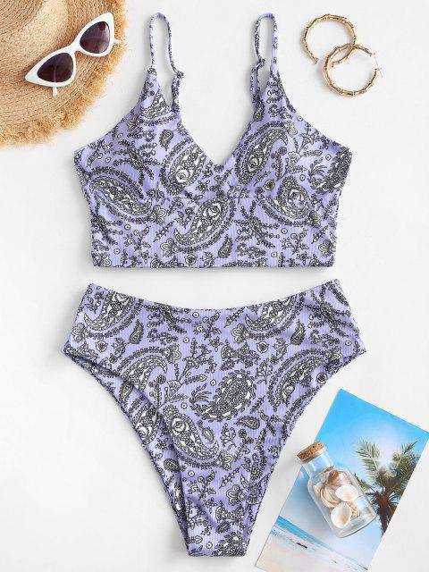 women's ZAFUL Paisley Floral High Cut Tankini Swimwear - PURPLE XL Mobile