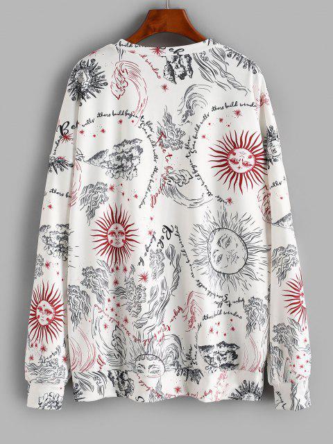 Oversize Sun Graphic Sweatshirt - أبيض M Mobile