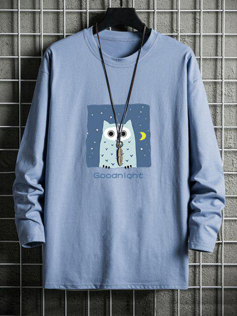 sale Night Owl Graphic Drop Shoulder Casual T Shirt - SKY BLUE XS Mobile