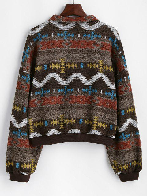 ZAFUL Zip Fly Tribal Print Knitted Jacket - قهوة M Mobile