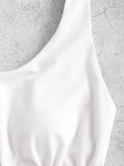 affordable ZAFUL Ribbed Ruffled Drawstring Bikini Top - WHITE M Mobile