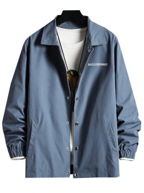 Letter Print Snap Button Up Turn-down Collar Jacket - محيط أزرق L Mobile