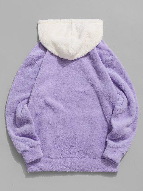ZAFUL Fluffy Sudadera con Capucha de Bolsillo de Canguro - purpúreo claro XL Mobile