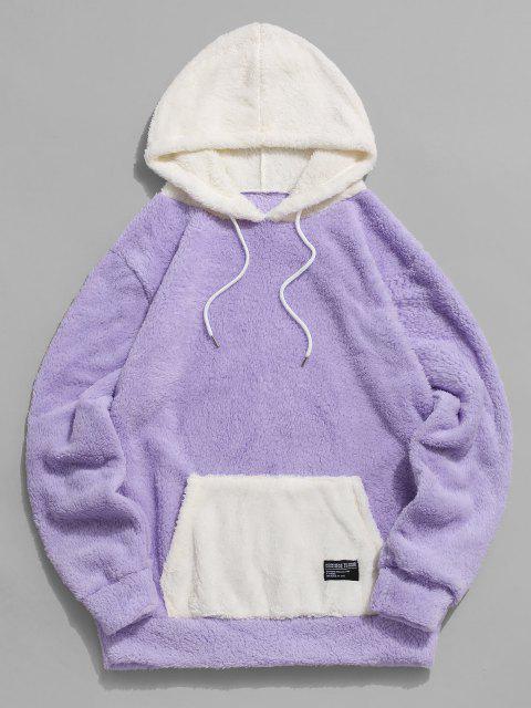 womens ZAFUL Colorblock Kangaroo Pocket Fluffy Hoodie - LIGHT PURPLE S Mobile