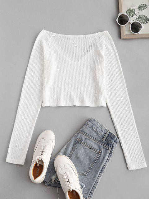 new Raglan Sleeve Plunging Crop Knitwear - WHITE S Mobile