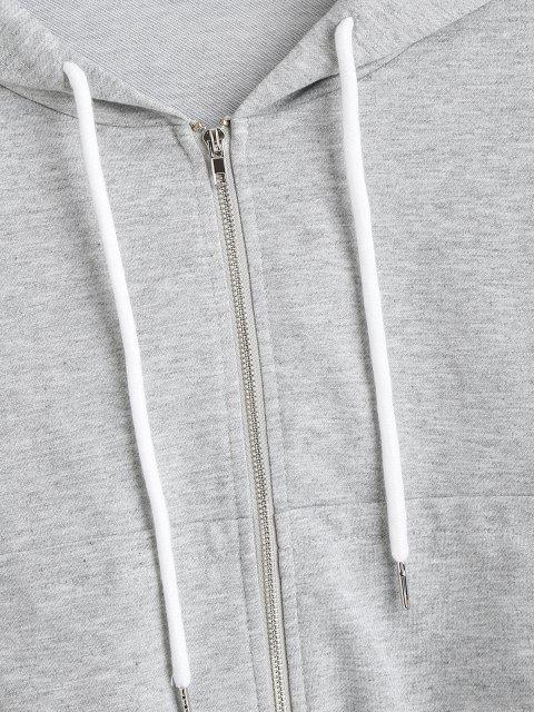 ladies ZAFUL Heathered Crop Zip Up Hoodie - GRAY GOOSE M Mobile