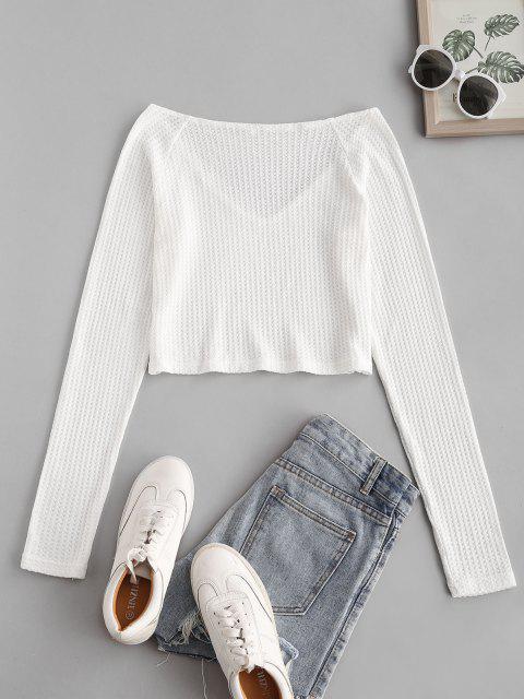 online Raglan Sleeve Plunging Crop Knitwear - WHITE XL Mobile