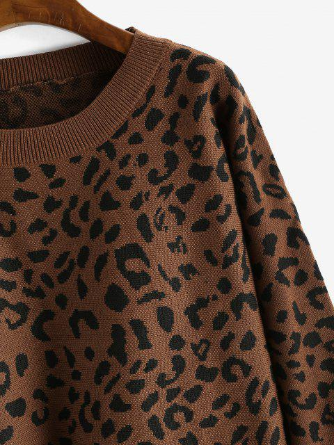 shop Loose Dolman Sleeve Leopard Sweater - RED DIRT L Mobile