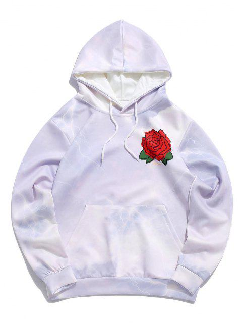 shops Flower Roses Lightning Print Hoodie - LILAC 3XL Mobile