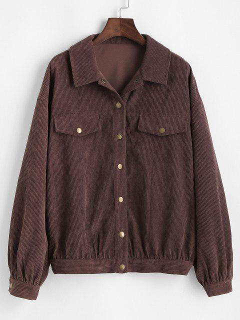 ladies ZAFUL Drop Shoulder Corduroy Jacket - DEEP COFFEE M Mobile