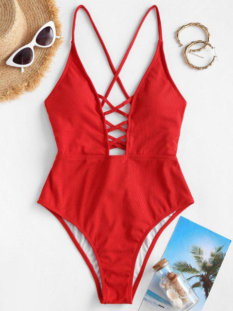 ladies ZAFUL Ribbed Lattice Lace-up High Cut One-piece Swimsuit - RED XL Mobile