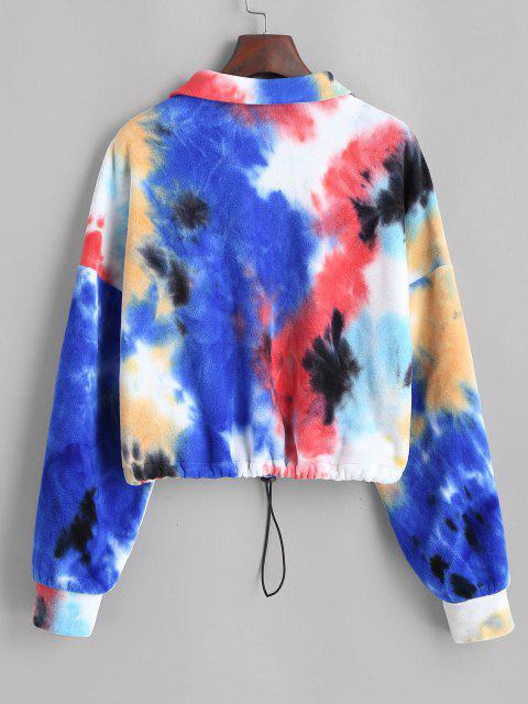 ladies ZAFUL Tie Dye Half Zip Fleece Cropped Sweatshirt - MULTI-A S Mobile