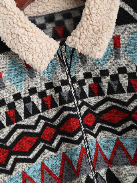 chic ZAFUL Faux Fur Insert Geometry Print Jacket - BLACK L Mobile