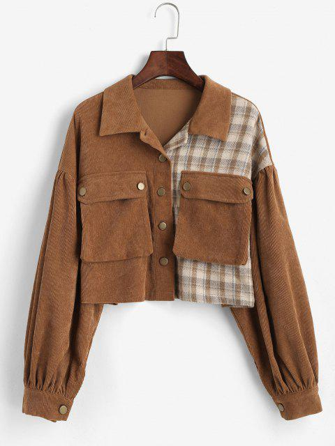 ZAFUL Corduroy Plaid Short Cargo Jacket - الاحمر الوسخ M Mobile