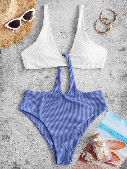 sale ZAFUL Ribbed Two Tone Trikini Swimsuit - WHITE L Mobile