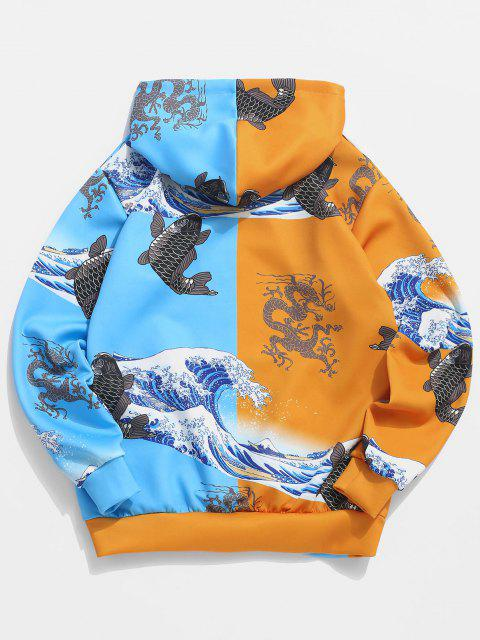 hot Two Tone Chinoiserie Animal Print Hoodie - BRIGHT YELLOW M Mobile