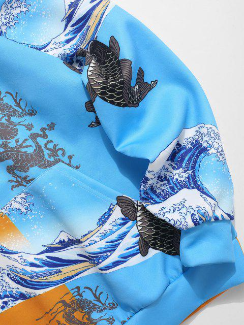 latest Two Tone Chinoiserie Animal Print Hoodie - BRIGHT YELLOW L Mobile