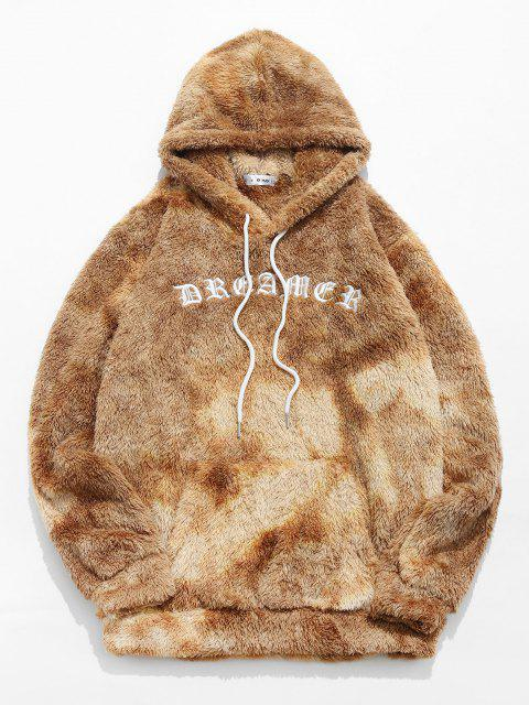 fashion ZAFUL Letter Embroidered Tie Dye Faux Fur Fluffy Hoodie - LIGHT COFFEE L Mobile