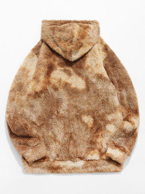 fancy ZAFUL Letter Embroidered Tie Dye Faux Fur Fluffy Hoodie - LIGHT COFFEE 2XL Mobile