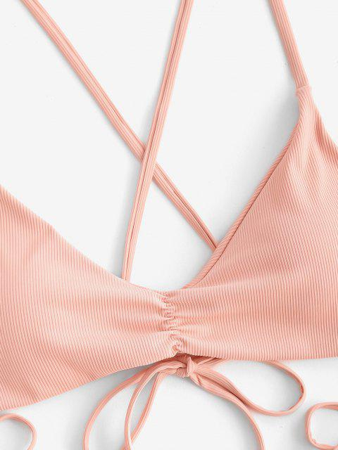 ZAFUL Gerippter Gebundener Bikini Badebekleidung mit Rüschen - Dunkler Pfirsich L Mobile