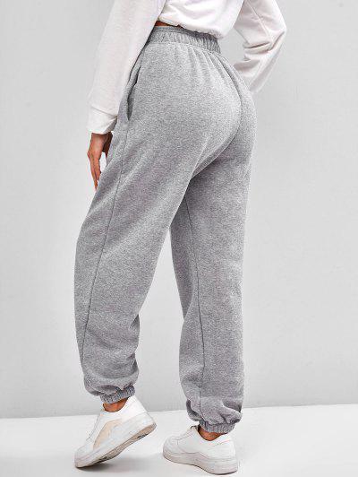 Fleece Lined Pocket Beam Feet High Rise Pants, Light gray