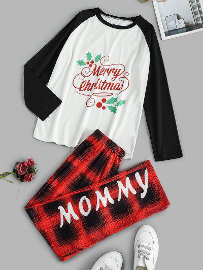 Graphic Plaid Raglan Merry Christmas Pajama Set - White L