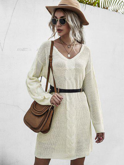 Chunky Drop Shoulder Mini Sweater Dress - Light Yellow S