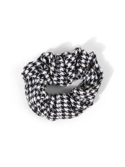 Houndstooth Print Woolen Scrunchie - Black