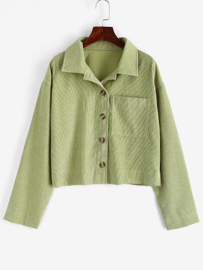 Corduroy Pocket Drop Shoulder Shirt Jacket - Green M