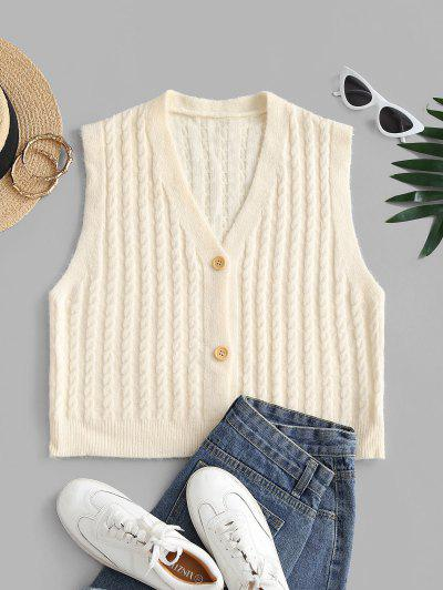Cable Knit Plunge Cardigan Vest - White