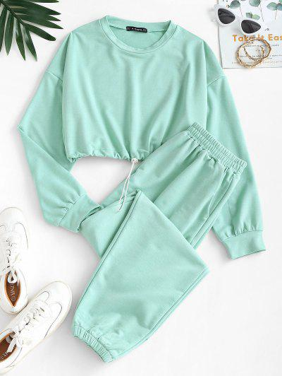 Crop Sweatshirt And Joggers Co Ord - Green M